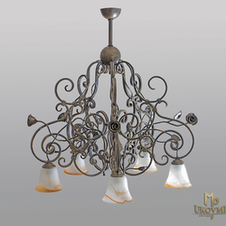 A rustic five-arm chandelier - hand-forged wrought-iron light filled with roses