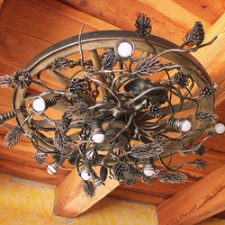 A wrought iron light - a wrought iron chandelier Pine