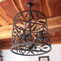 Design pendant lamp hand-forged as a WILLOW - forged chandelier