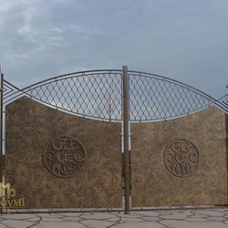 A wrought iron gate - metal with a logo - A luxury gate