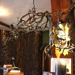 A wrought iron chandelier- roots - Hotel Galileo reception- Donovaly
