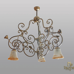 A three-arm chandelier in rustic style - hand-forged hanging light