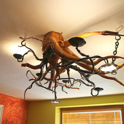 A wrought iron chandelier - An interior chandelier