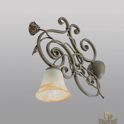A rustic wall lamp - romantic light filled with roses