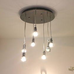 View of illuminated pendant light SPIRALS suitable for lighting of kitchen, hall, dining room...